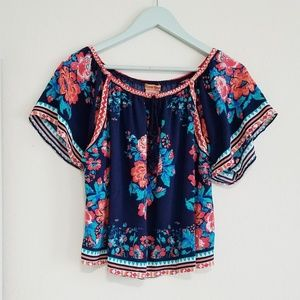 Anthropologie Boho Flying Tomato Floral Top